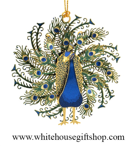 peacock ornament  24kt gold finished  three dimensional