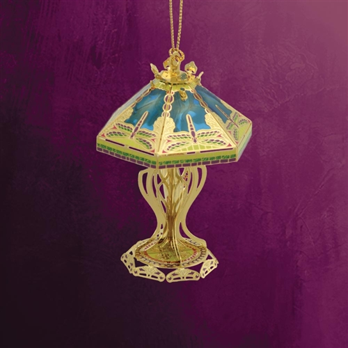 Tiffany Lamp Ornament 3 D 24kt Gold Plated Handmade In