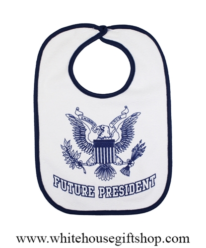 Baby Bib Future President With Presidential Eagle Seal Blue Leadership Starts Early Made In Usa Sold Out