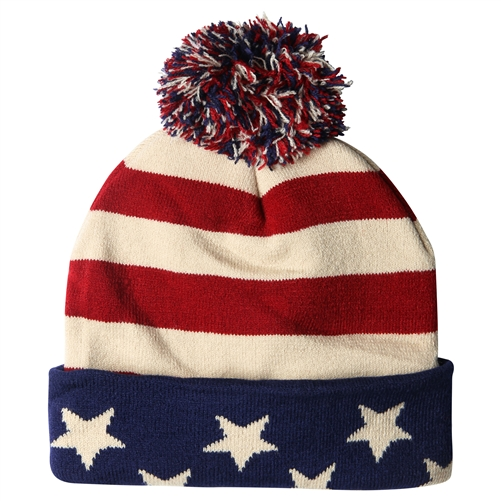 American Flag Knit Beanie Cap Antique Toned Red White