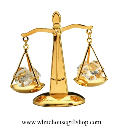 Scales Of Justice 24kt Gold Plated Balance Crystals
